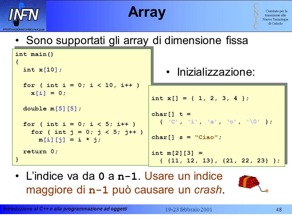 Array Sono supportati gli array di dimensione fissa Inizializzazione: