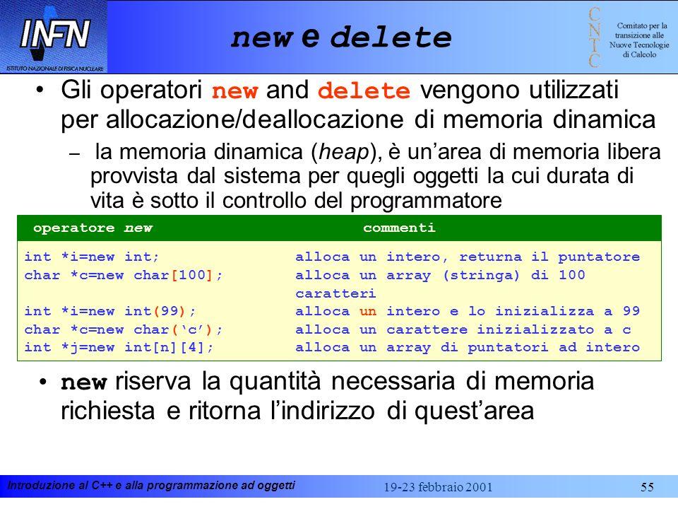 new e deleteGli operatori new and delete vengono utilizzati per allocazione/deallocazione di memoria dinamica.
