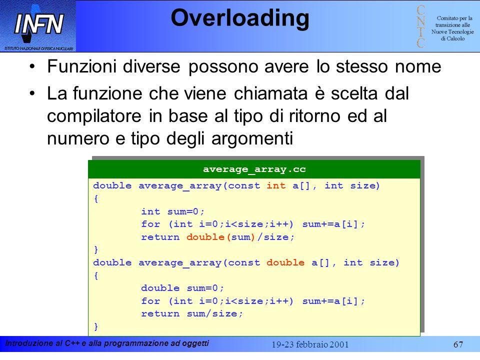 Overloading Funzioni diverse possono avere lo stesso nome