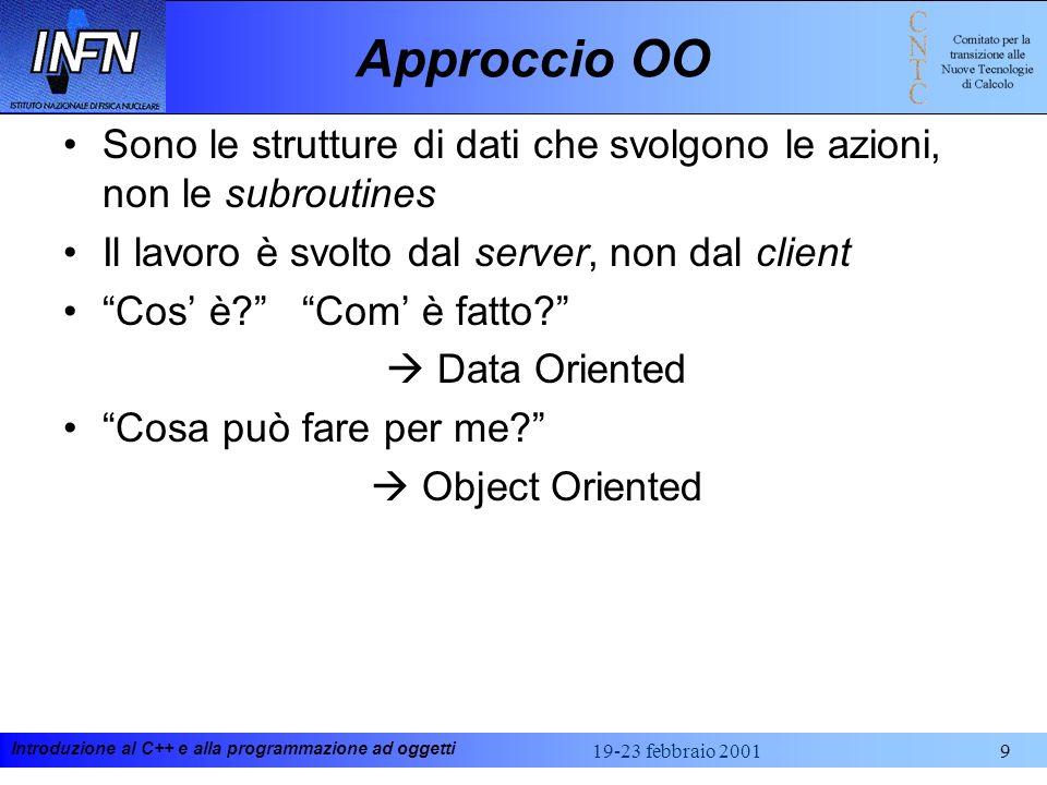 Approccio OOSono le strutture di dati che svolgono le azioni, non le subroutines. Il lavoro è svolto dal server, non dal client.