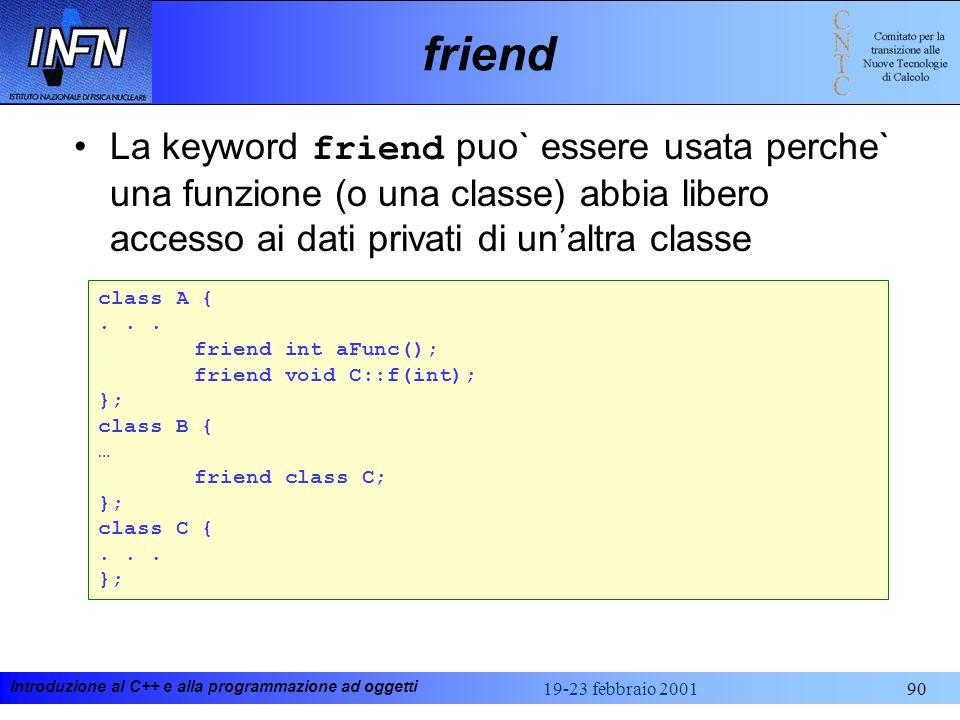 friendLa keyword friend puo` essere usata perche` una funzione (o una classe) abbia libero accesso ai dati privati di un'altra classe.