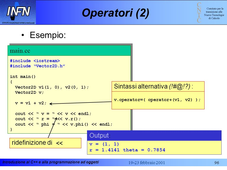 Operatori (2) Esempio: main.cc Sintassi alternativa (!#@! ) : Output: