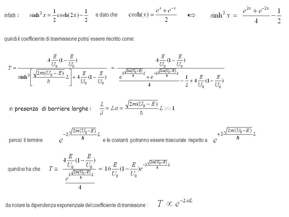 infatti : e dato che. quindi il coefficiente di trasmissione potra' essere riscritto come: in presenza di barriere larghe :