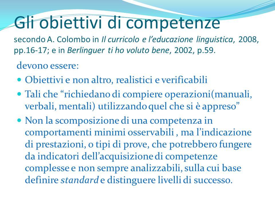 Gli obiettivi di competenze secondo A