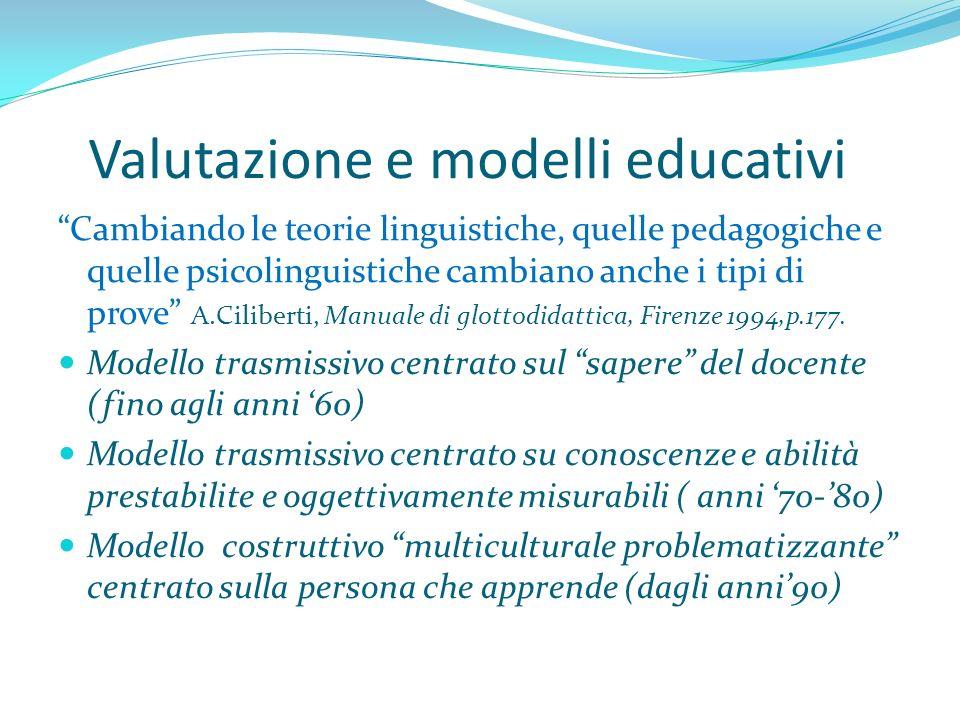 Valutazione e modelli educativi