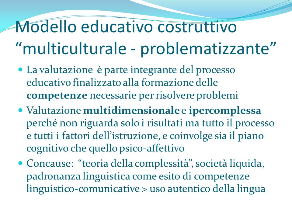 Modello educativo costruttivo multiculturale - problematizzante