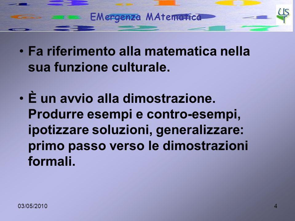 Fa riferimento alla matematica nella sua funzione culturale.