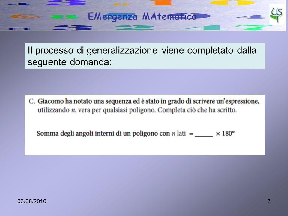Il processo di generalizzazione viene completato dalla seguente domanda: