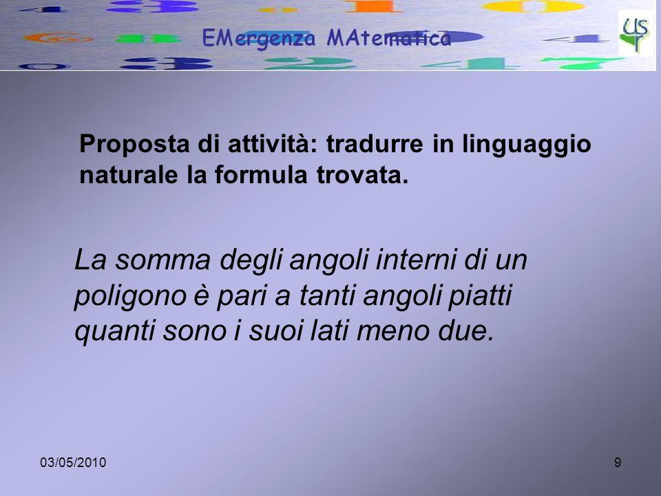 Proposta di attività: tradurre in linguaggio naturale la formula trovata.