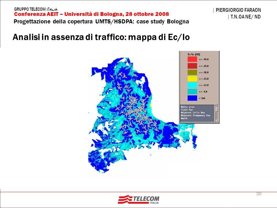 Analisi in assenza di traffico: mappa di Ec/Io