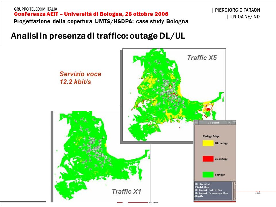 Analisi in presenza di traffico: outage DL/UL