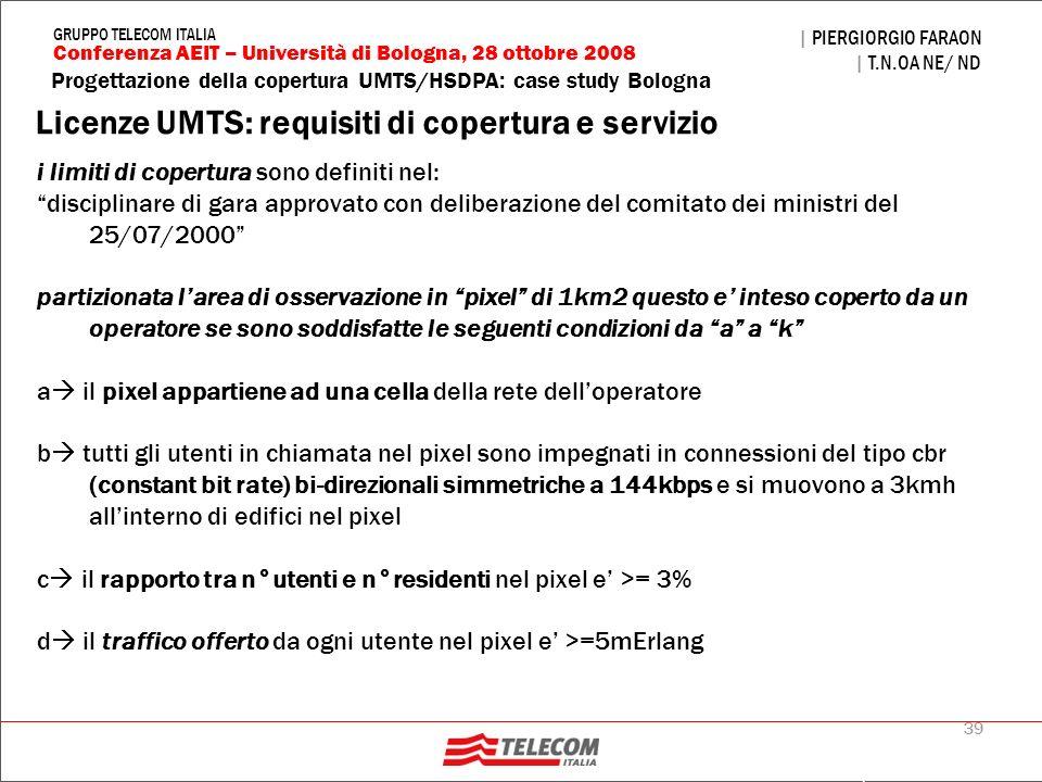 Licenze UMTS: requisiti di copertura e servizio