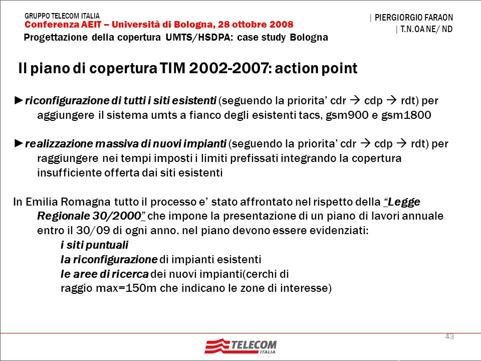 Il piano di copertura TIM 2002-2007: action point
