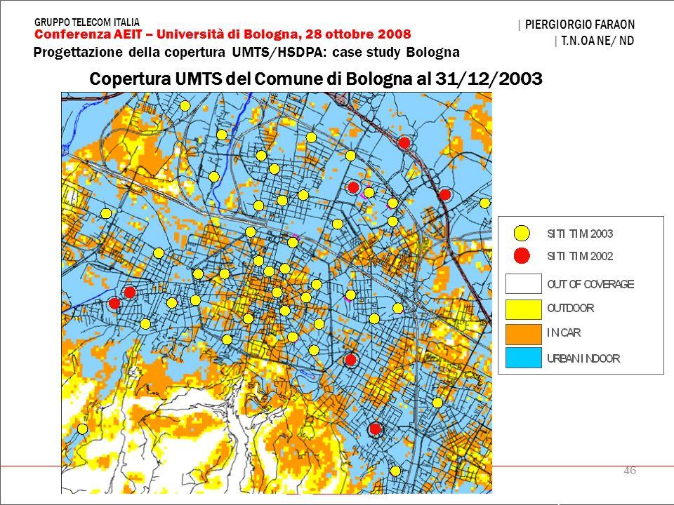 Copertura UMTS del Comune di Bologna al 31/12/2003