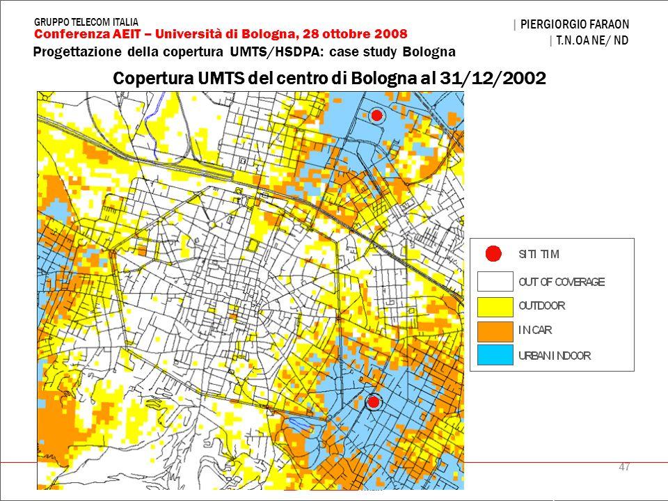 Copertura UMTS del centro di Bologna al 31/12/2002