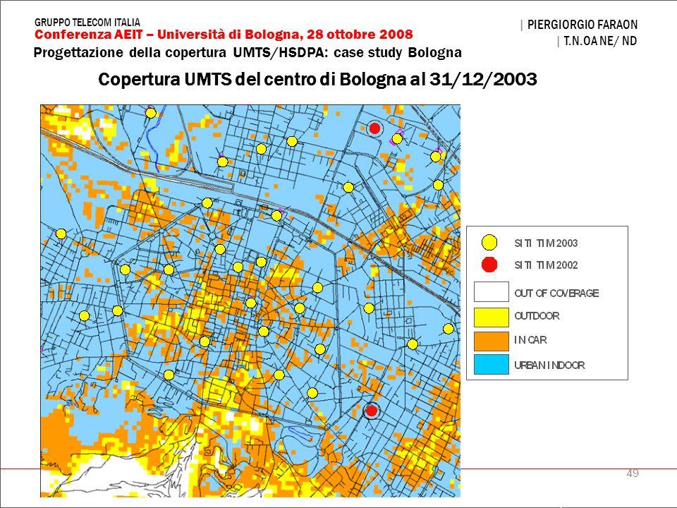 Copertura UMTS del centro di Bologna al 31/12/2003