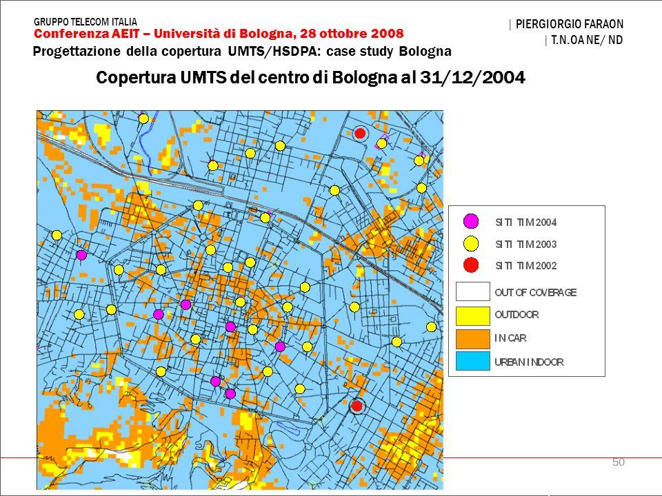 Copertura UMTS del centro di Bologna al 31/12/2004