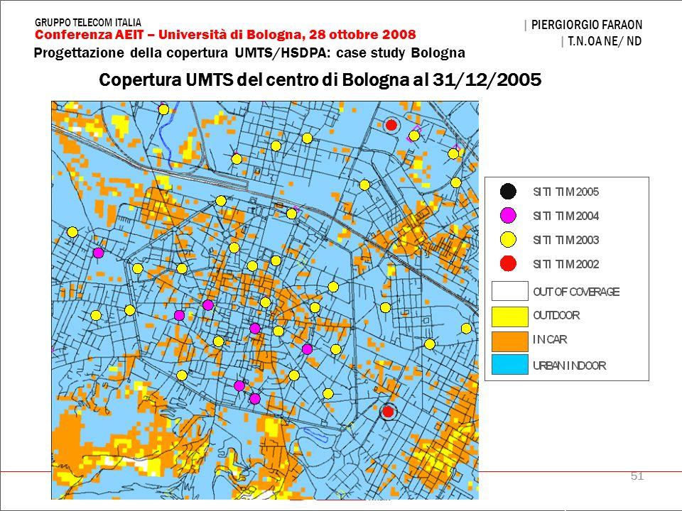 Copertura UMTS del centro di Bologna al 31/12/2005