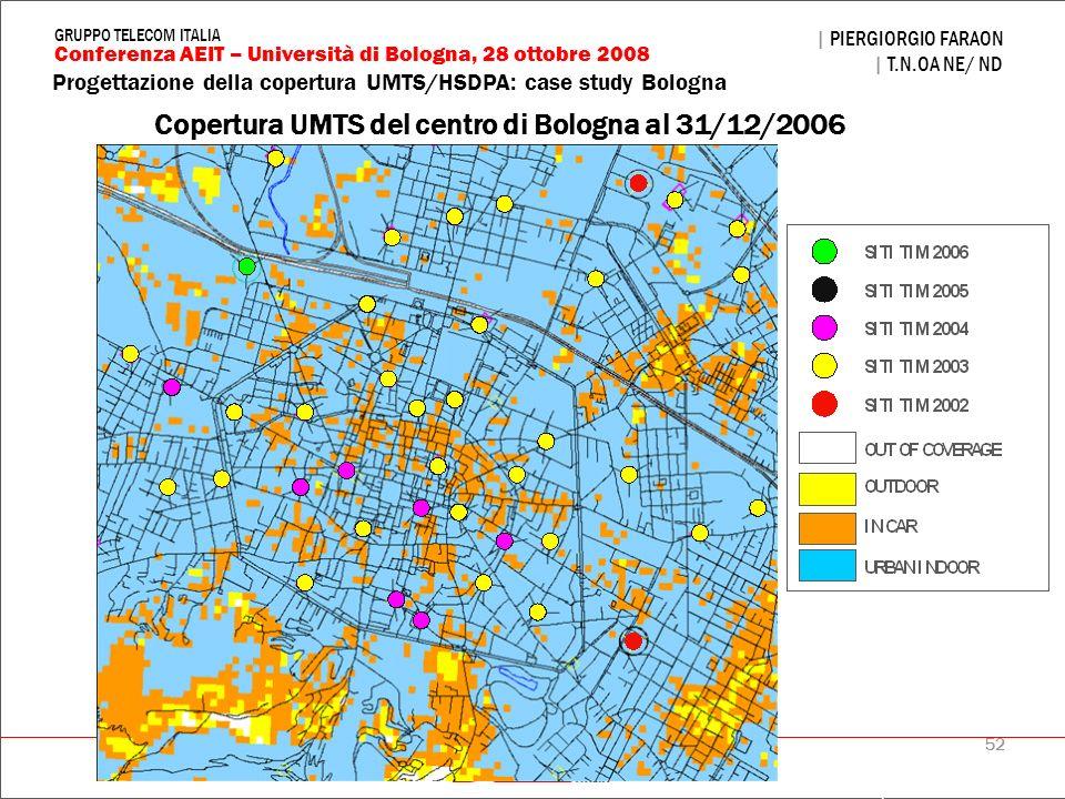 Copertura UMTS del centro di Bologna al 31/12/2006