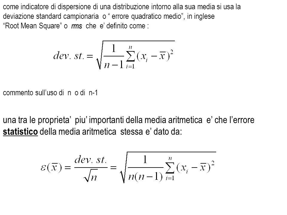 come indicatore di dispersione di una distribuzione intorno alla sua media si usa la deviazione standard campionaria o errore quadratico medio , in inglese
