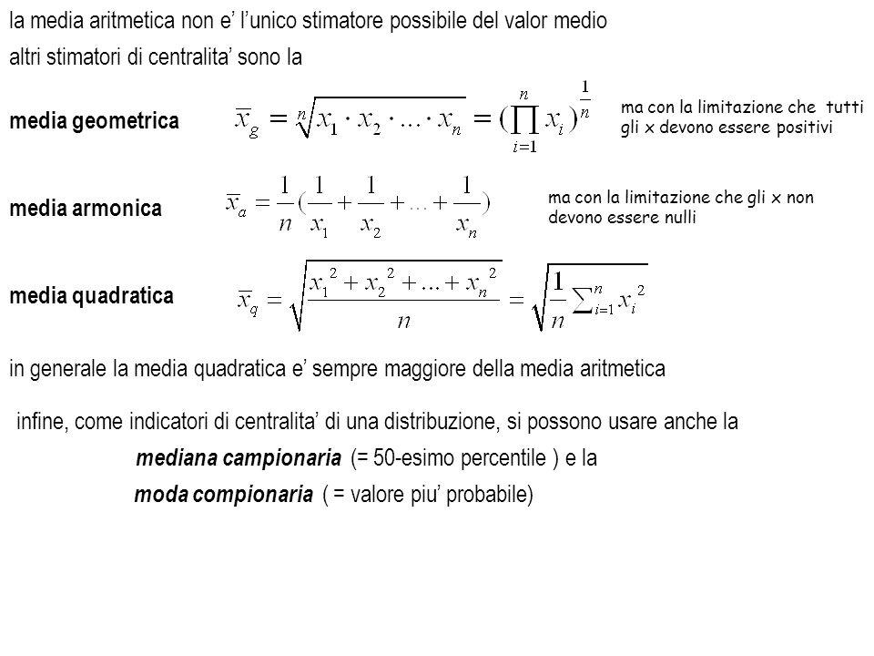 la media aritmetica non e' l'unico stimatore possibile del valor medio