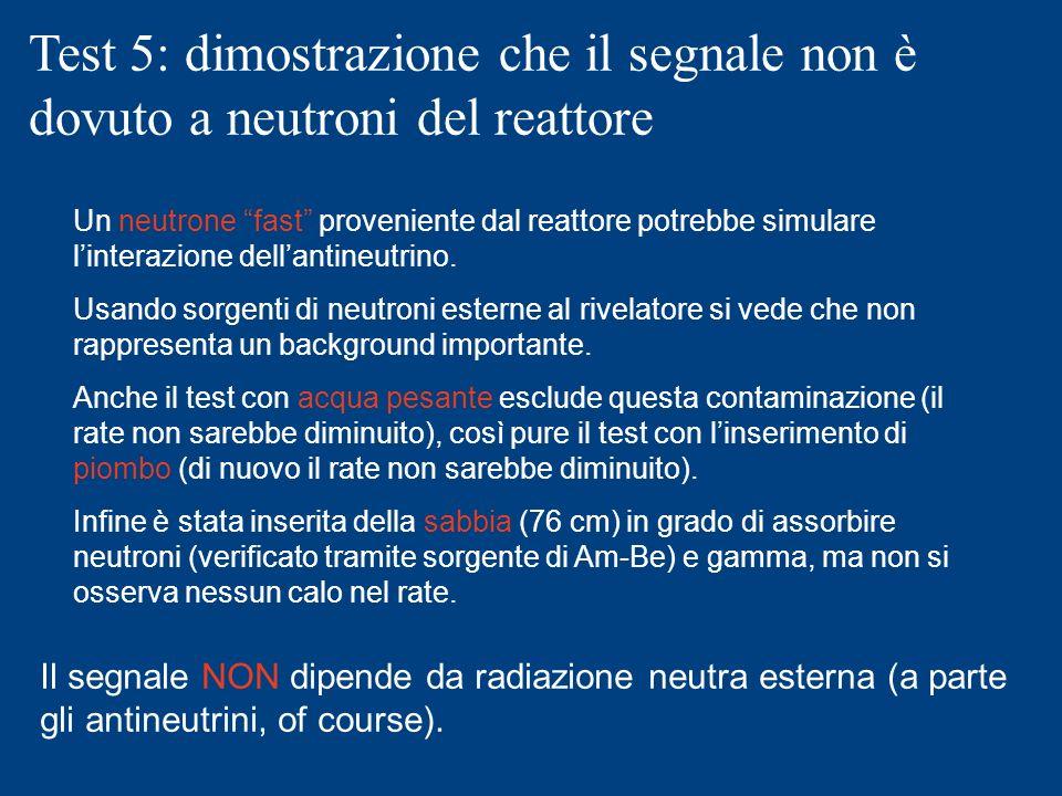 Test 5: dimostrazione che il segnale non è dovuto a neutroni del reattore
