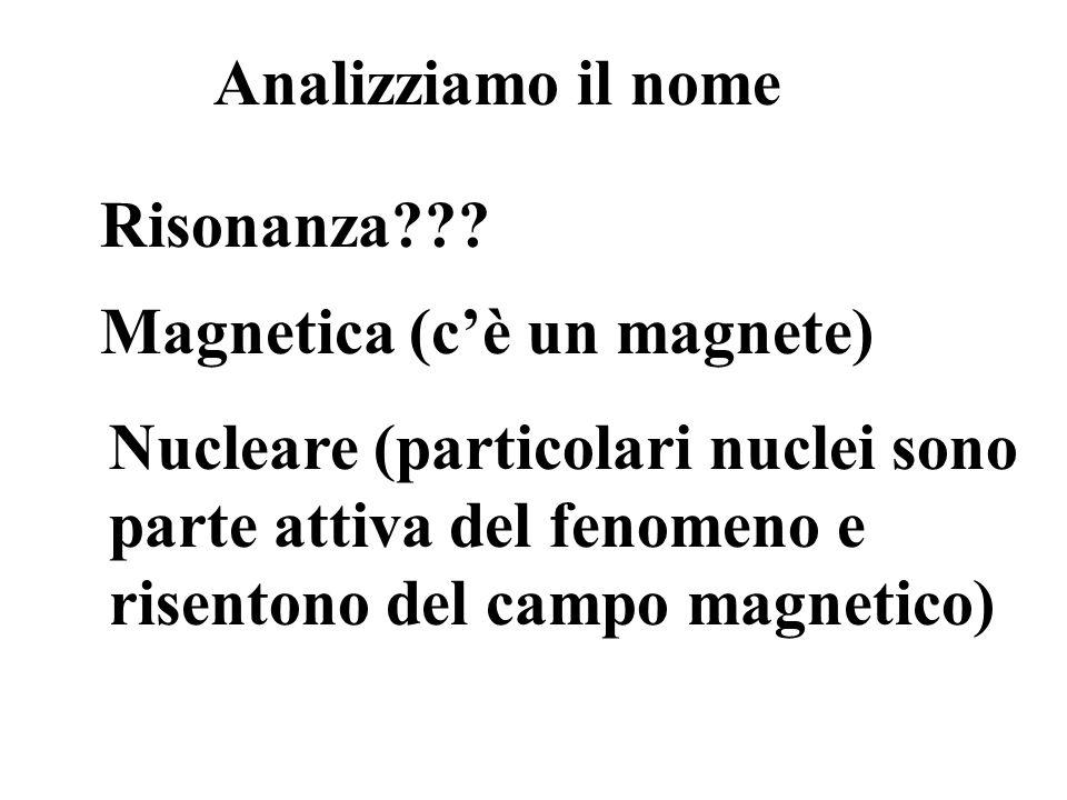 Analizziamo il nome Risonanza Magnetica (c'è un magnete)