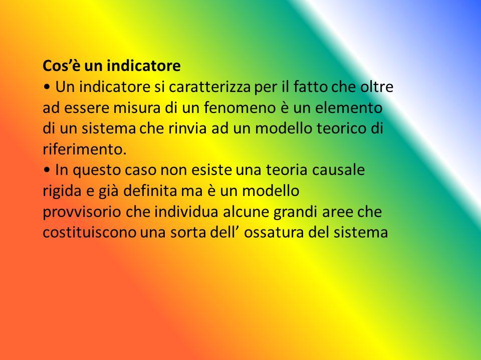 Cos'è un indicatore • Un indicatore si caratterizza per il fatto che oltre. ad essere misura di un fenomeno è un elemento.