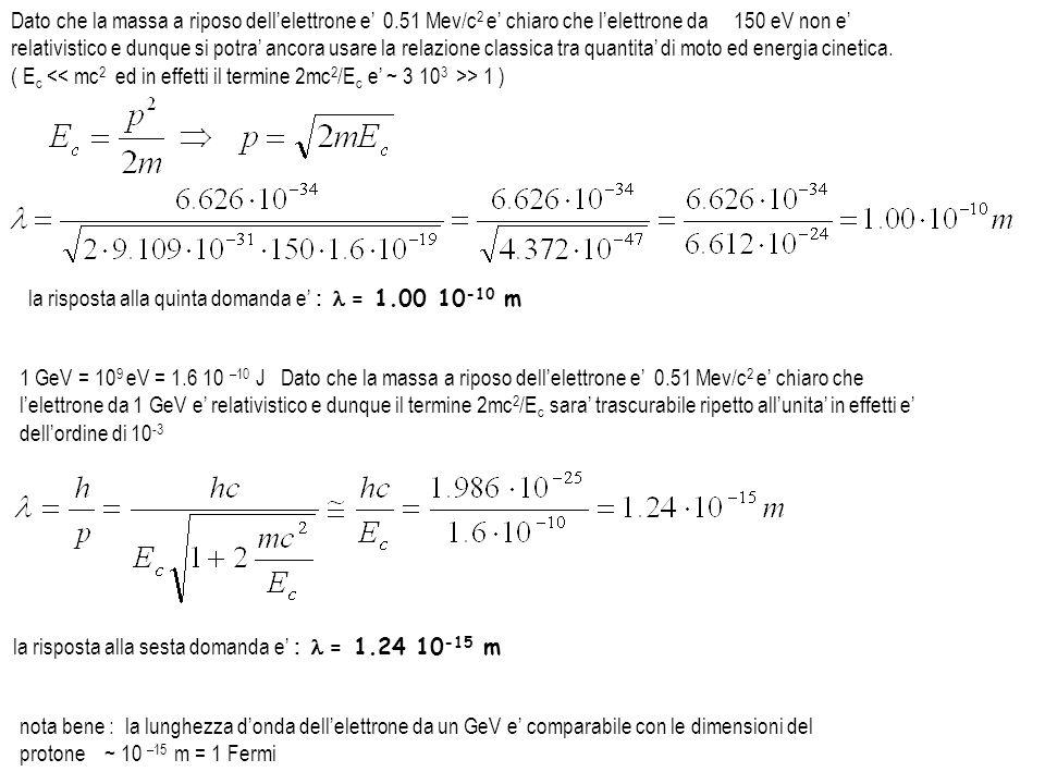Dato che la massa a riposo dell'elettrone e' 0