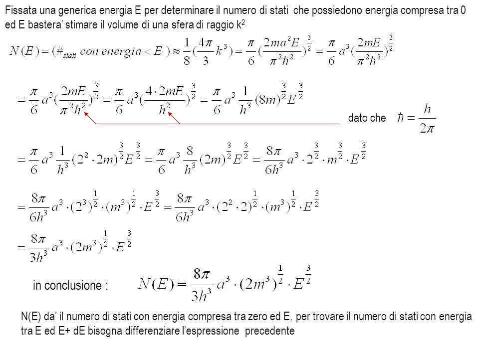 Fissata una generica energia E per determinare il numero di stati che possiedono energia compresa tra 0 ed E bastera' stimare il volume di una sfera di raggio k2