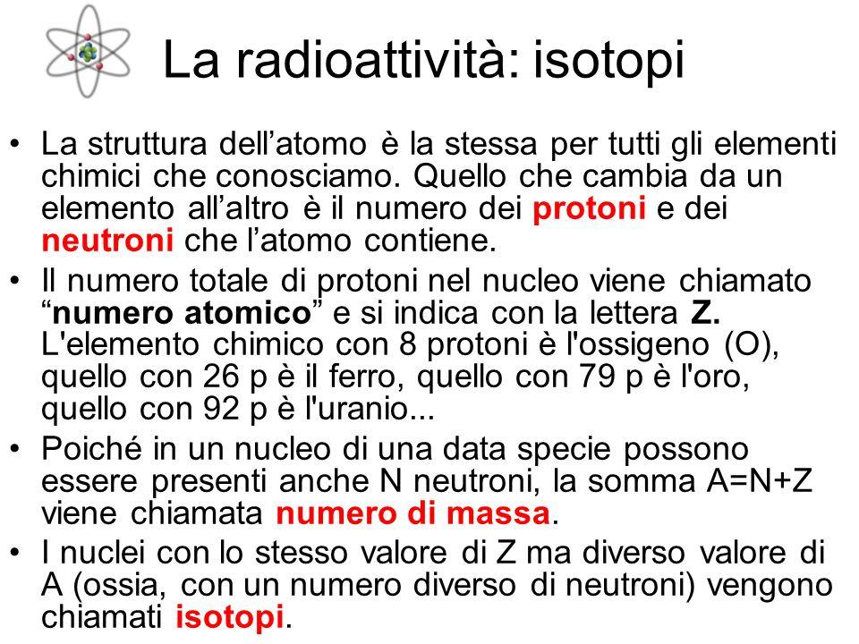 La radioattività: isotopi
