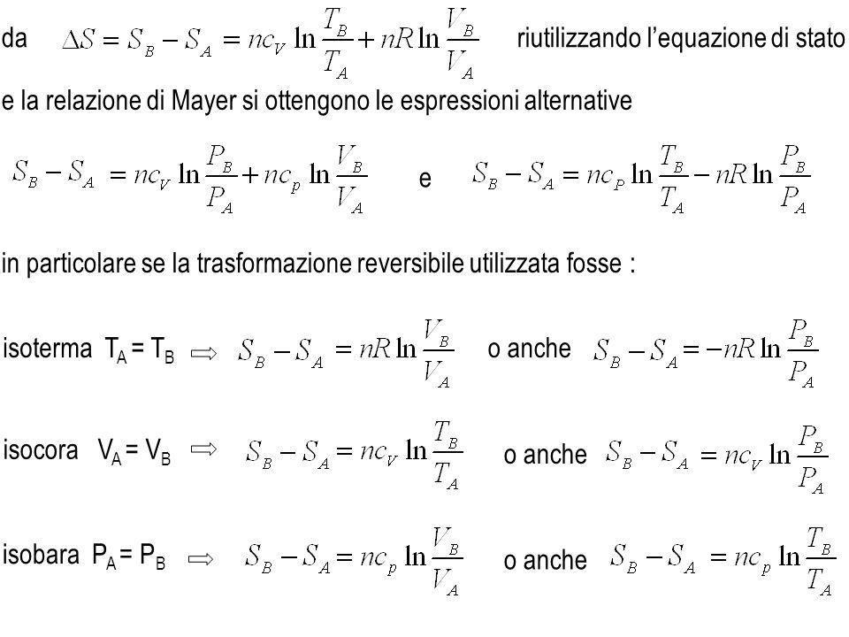dariutilizzando l'equazione di stato. e la relazione di Mayer si ottengono le espressioni alternative.