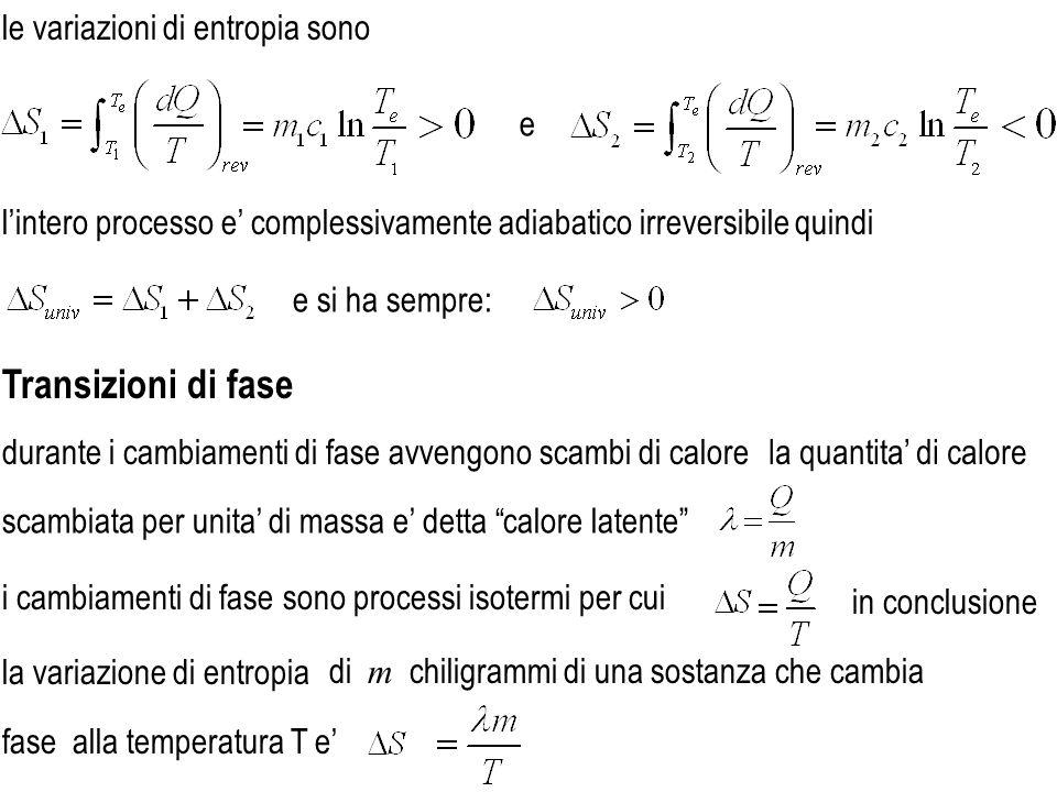 Transizioni di fase le variazioni di entropia sono e
