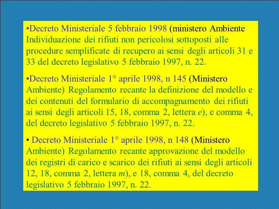 Decreto Ministeriale 5 febbraio 1998 (ministero Ambiente Individuazione dei rifiuti non pericolosi sottoposti alle procedure semplificate di recupero ai sensi degli articoli 31 e 33 del decreto legislativo 5 febbraio 1997, n. 22.