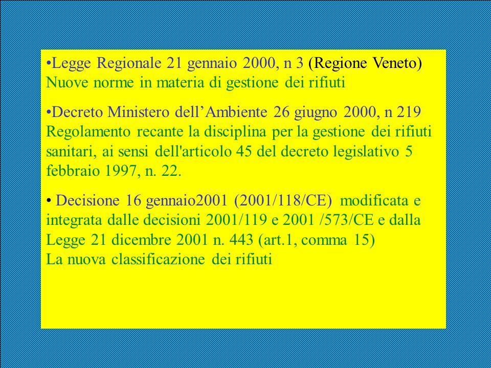 Legge Regionale 21 gennaio 2000, n 3 (Regione Veneto) Nuove norme in materia di gestione dei rifiuti