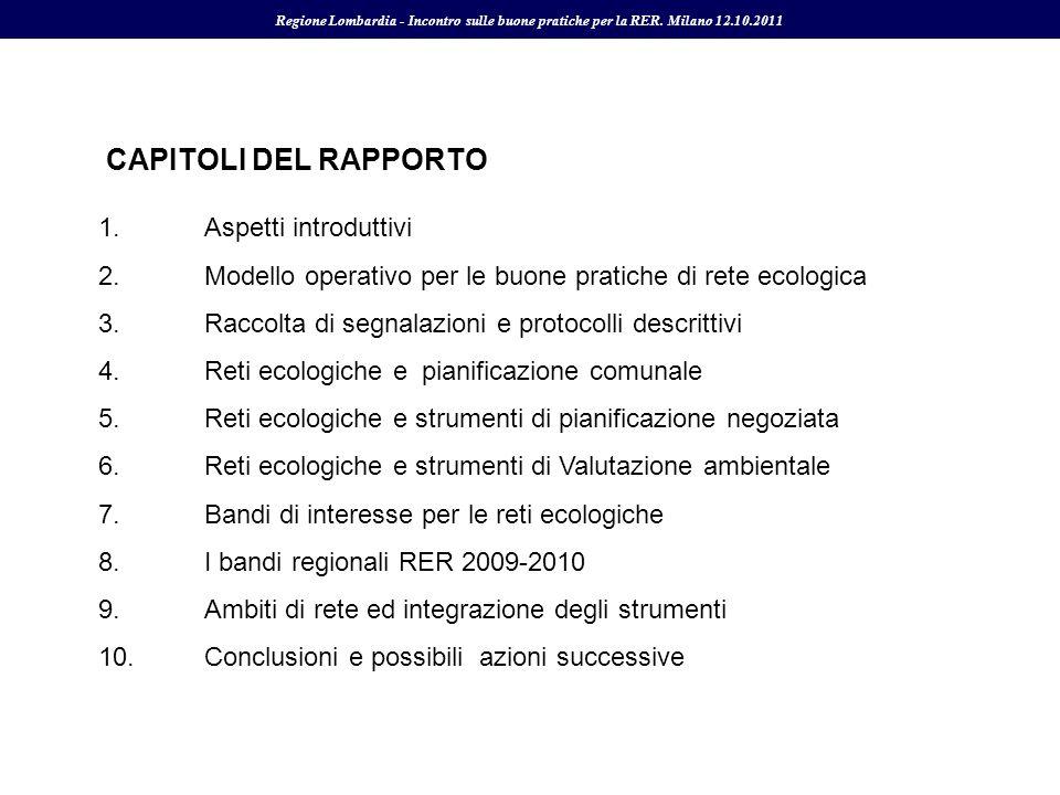 CAPITOLI DEL RAPPORTO 1. Aspetti introduttivi