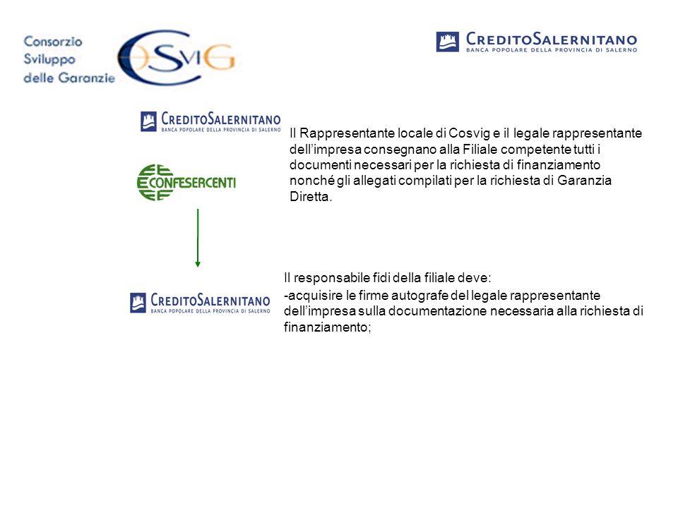 Il Rappresentante locale di Cosvig e il legale rappresentante dell'impresa consegnano alla Filiale competente tutti i documenti necessari per la richiesta di finanziamento nonché gli allegati compilati per la richiesta di Garanzia Diretta.