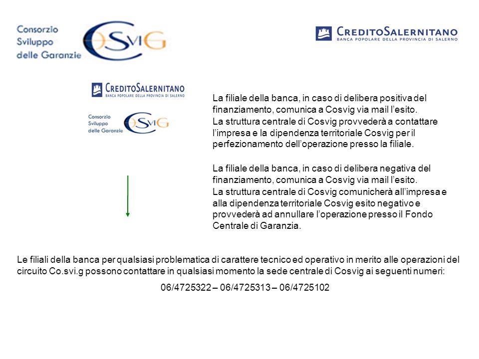 La filiale della banca, in caso di delibera positiva del finanziamento, comunica a Cosvig via mail l'esito.