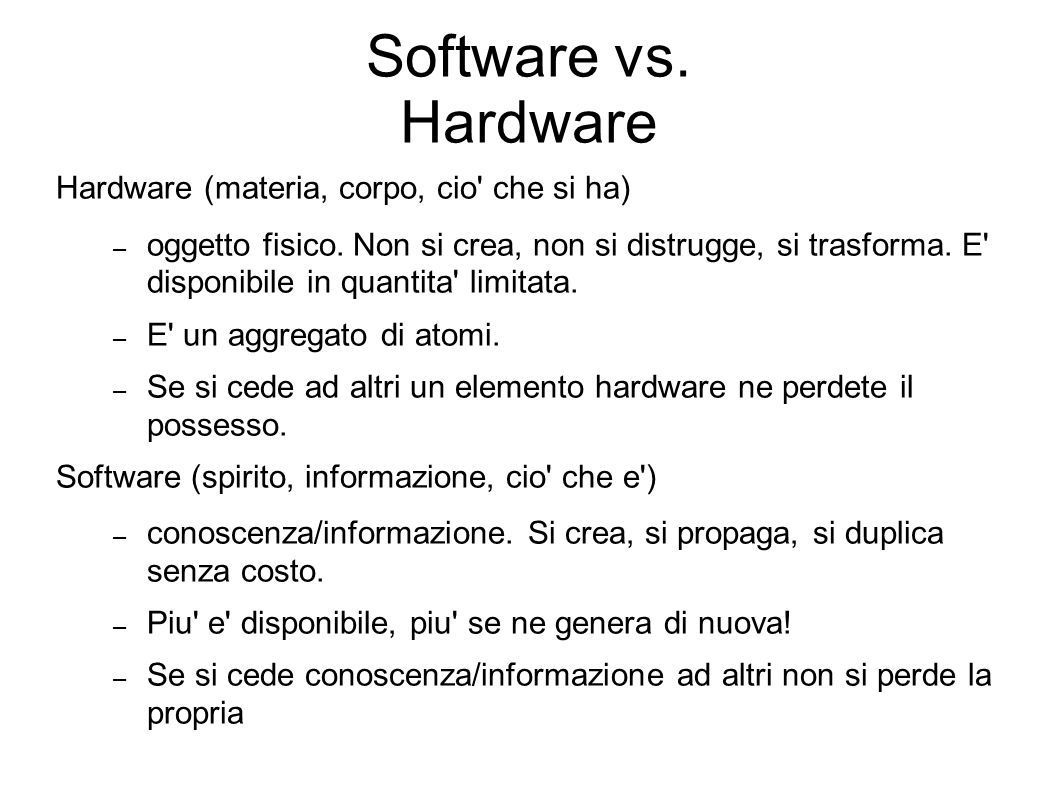 Software vs. Hardware Hardware (materia, corpo, cio che si ha)