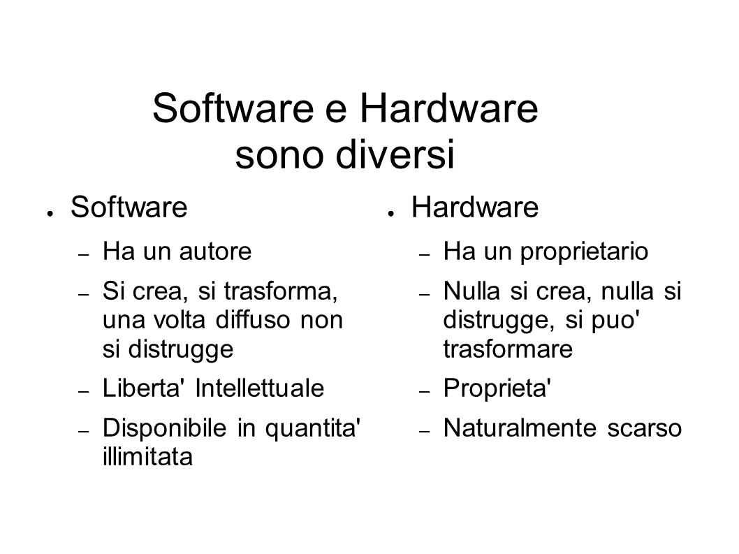 Software e Hardware sono diversi