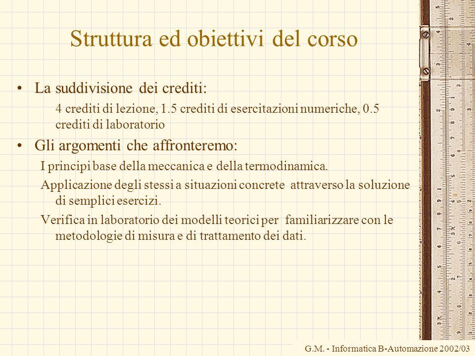 Struttura ed obiettivi del corso