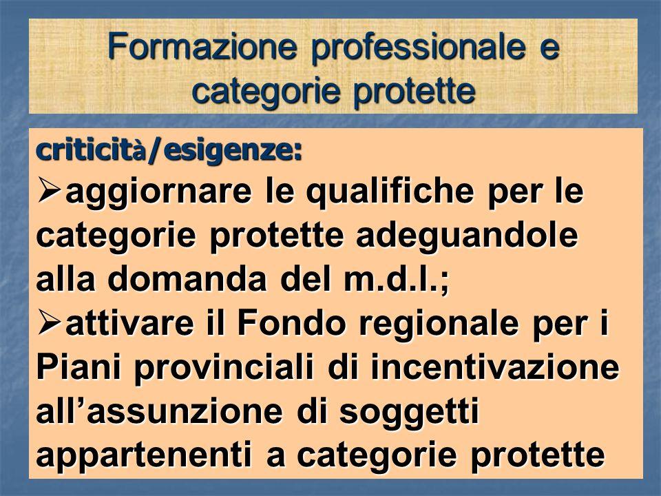 Formazione professionale e categorie protette