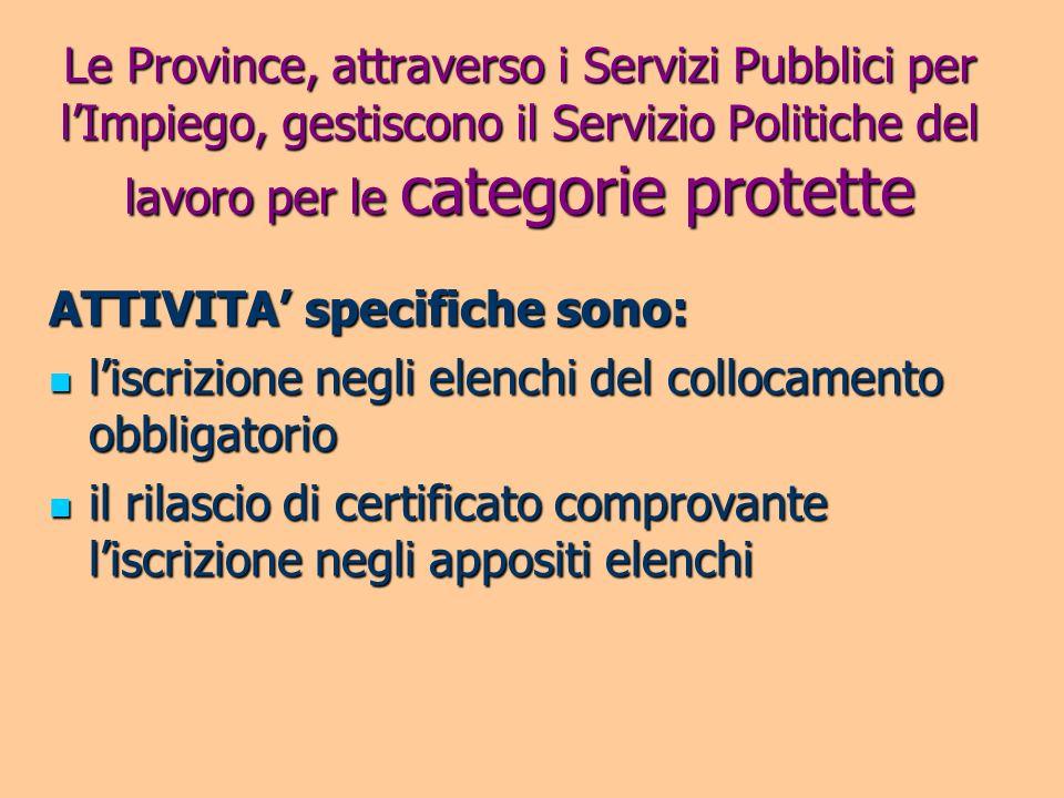 Le Province, attraverso i Servizi Pubblici per l'Impiego, gestiscono il Servizio Politiche del lavoro per le categorie protette
