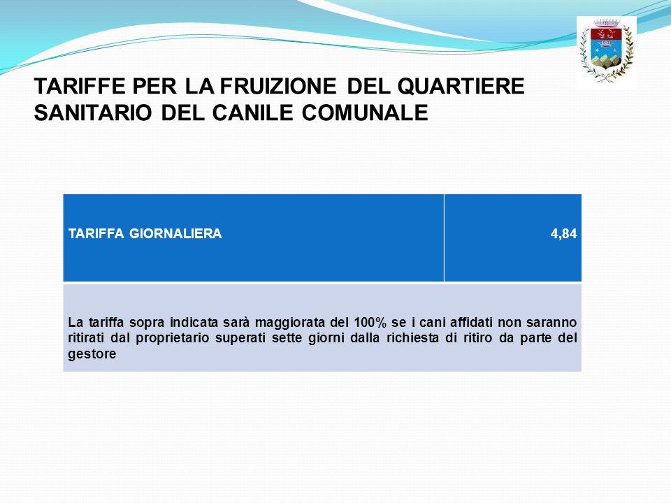 TARIFFE PER LA FRUIZIONE DEL QUARTIERE SANITARIO DEL CANILE COMUNALE
