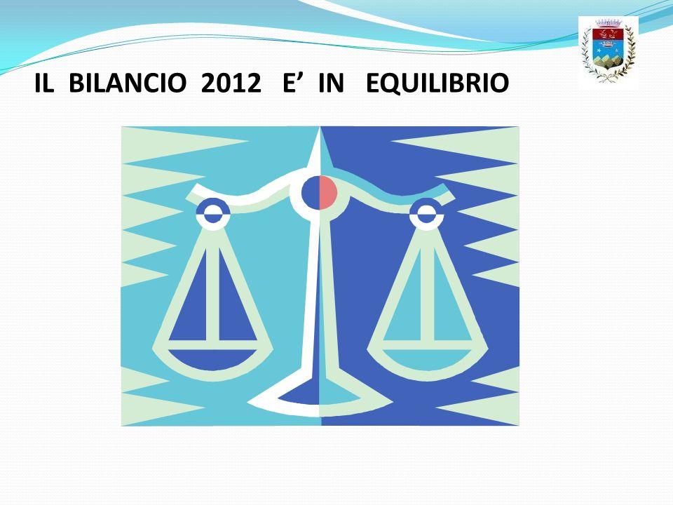 IL BILANCIO 2012 E' IN EQUILIBRIO