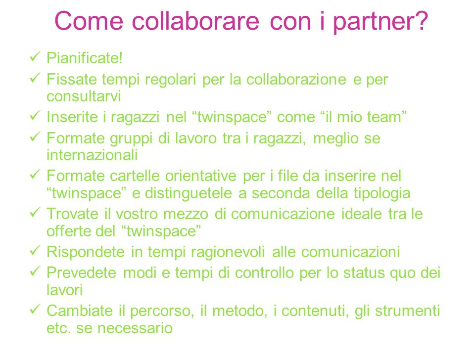 Come collaborare con i partner