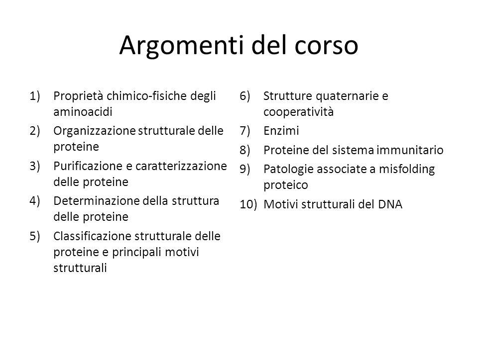 Argomenti del corso Proprietà chimico-fisiche degli aminoacidi