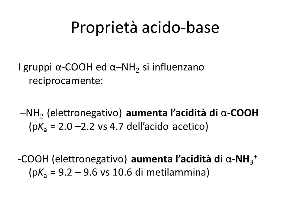 Proprietà acido-base I gruppi α-COOH ed α–NH2 si influenzano reciprocamente:
