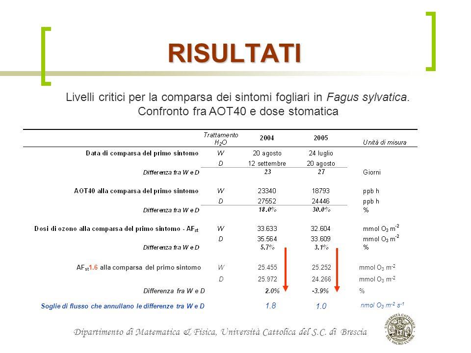 Confronto fra AOT40 e dose stomatica