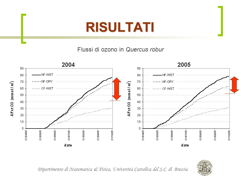 RISULTATI Flussi di ozono in Quercus robur 2004 2005